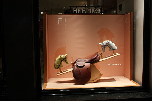 Hermes London horse thematic shop windows display
