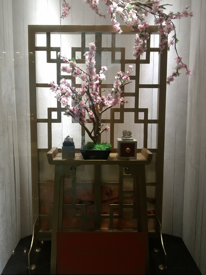 Traditional Chinese New Year shop windows display in Indonesia