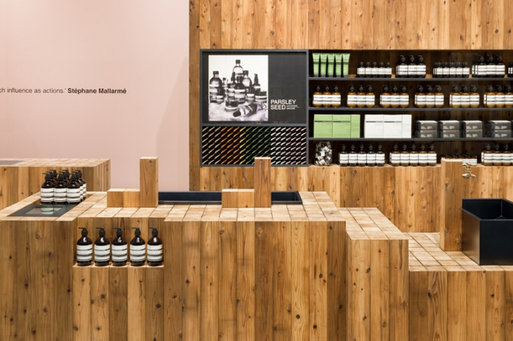 "torafu architects warm aesop ""grand front osaka mall"" with japanese cedar"