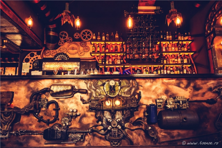 Enigma Cafe, kinetic steampunk bar by 6sense interiors