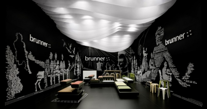 Brunner Fair Stand by Ippolito Fleitz Group and 54,000 plastic letters