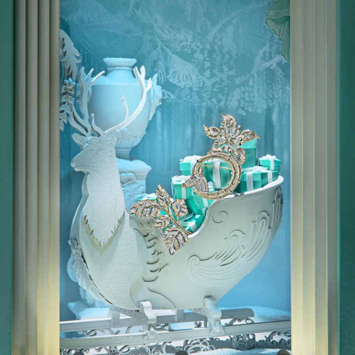 Tiffany christmas holiday windows display on Fifth Avenue flagship