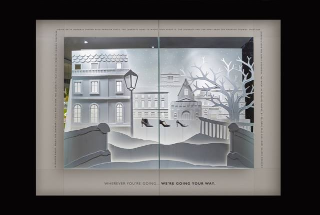 Clarks christmas window display by Harlequin Design