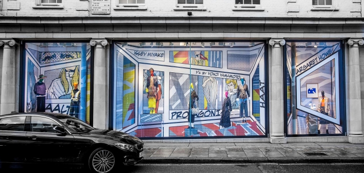 Pop Art window display for Fenwick by Harlequin Design