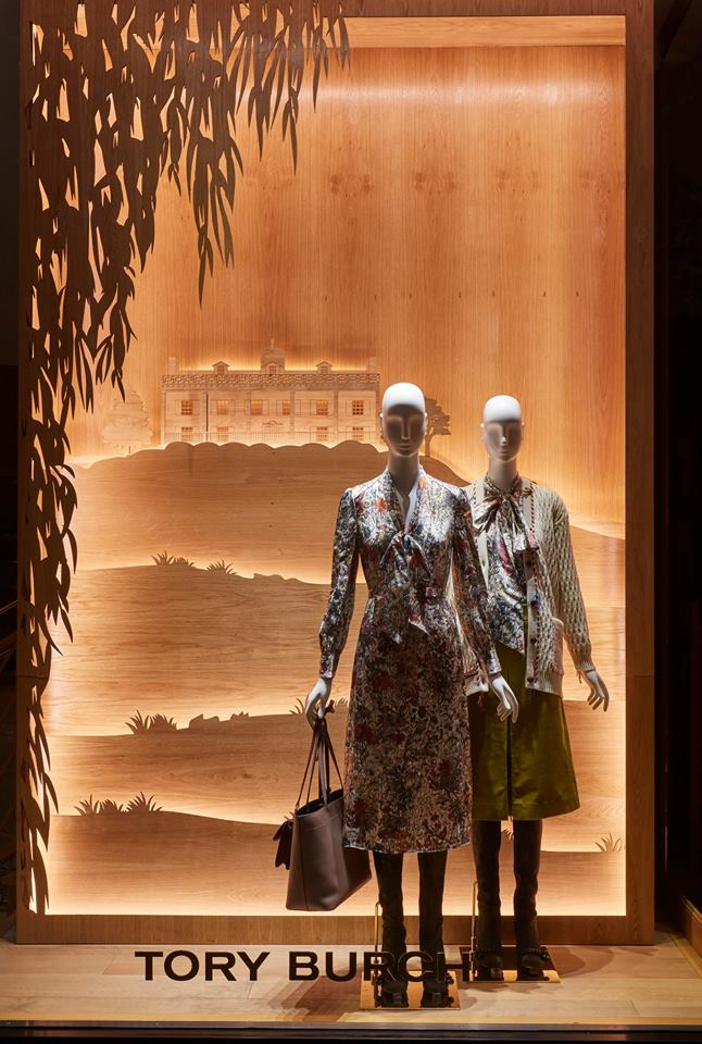 Tory Burch Autumn windows display by Tory Burch & Seen Displays
