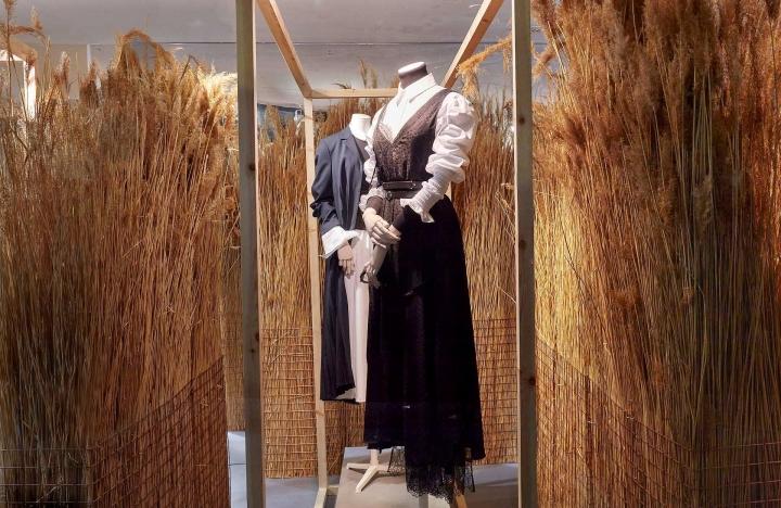 Joseph fashion country-peasant girl window display by Harlequin Design